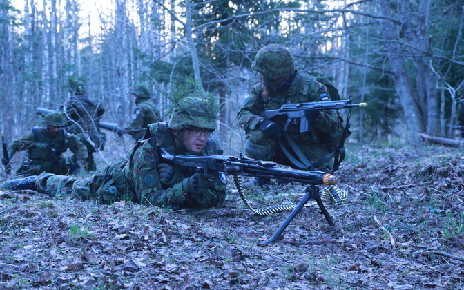 Members of Estonia's volunteer Defence League during an exercise. Image is illustrative