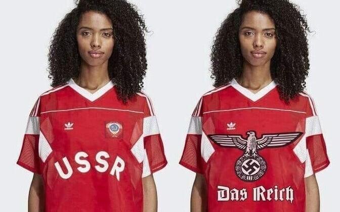 Vasakul Adidase Nõukogude Liidu sümboolikaga toode, paremal Twitteri-kasutaja Ievgen Olefirenko irooniiline fototöötlus.