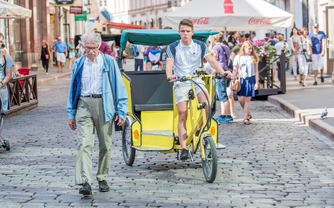 A bicycle rickshaw on the streets of Tallinn's Old Town