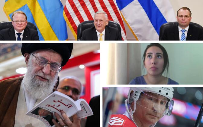 Rootsi, USA ja Soome kaitseminister Washingtonis (AFP), ajatolla Khamenei Teheranis Trumpi-raamatut lugemas (AFP), Dubai printsess Latifa (video stoppkaader), Putin Sotšis jäähokit mängimas (Sputnik).