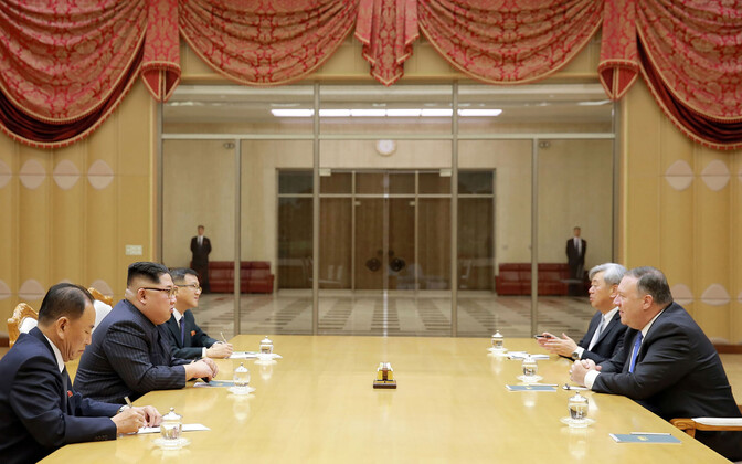Kim Jong-un ja USA välisminister Mike Pompeo 9. mail Pyongyangis.