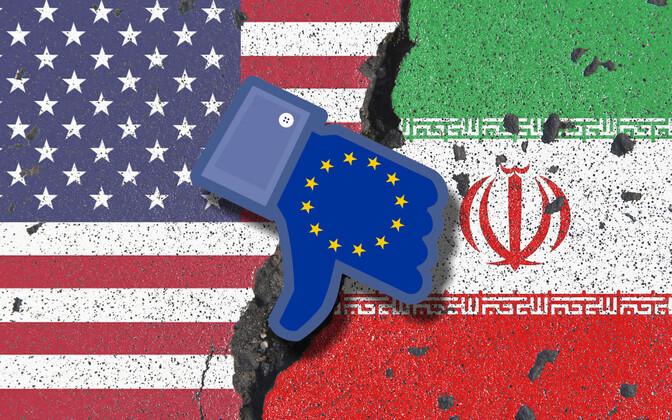 Kollaaž USA, Euroopa Liidu ja Iraani lippudega.