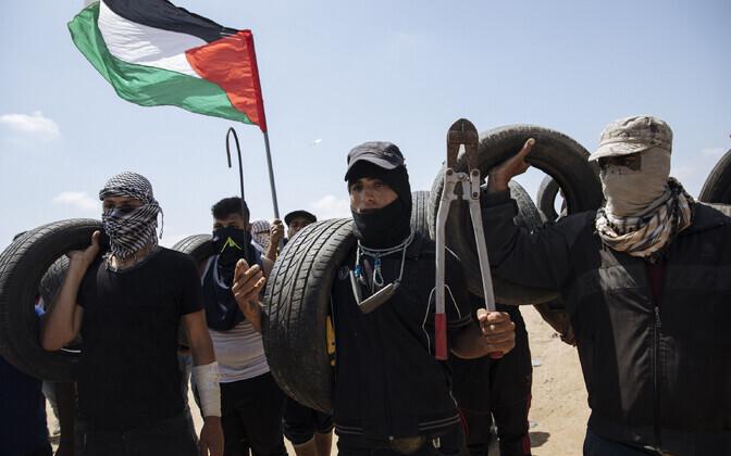 Meeleavaldajad Gaza-Iisraeli piiril.