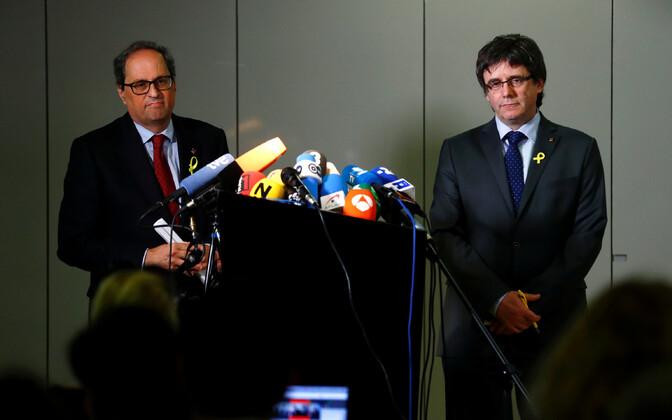 Quim Torra ja Carles Puigdemont 15. mail Berliinis.