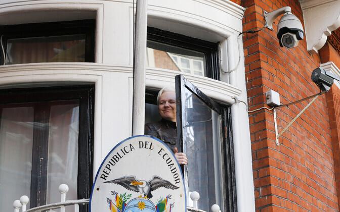 Julian Assange 2017. aasta mais Ecuadori Londoni saatkonnas.