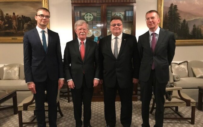 From the left: Sven Mikser, John Bolton, Lithuanian Foreign Minister Linas Linkevičius, Latvian Foreign Minister Edgars Rinkēvičs.