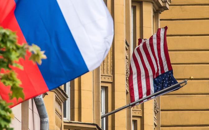 Lipud USa saatkonna juures Moskvas.