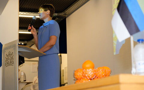 Kersti Kaljulaid speaking during her recent visit to Greece