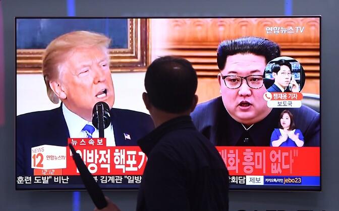 Donald Trumpi ja Kim Jong-uni kohtumisest kõnelev uudis Lõuna-Korea meedias.