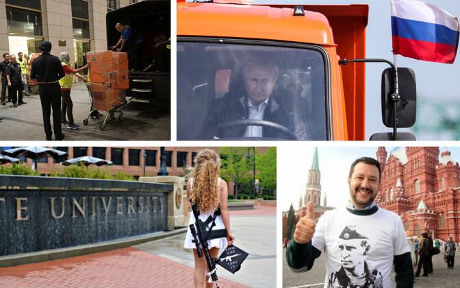 Politseireid Malaisia endise peaministri juures (Reuters), Putin Kertši silda avamas (TASS), Kaitlin Bennett ülikooli minemas (Sotsiaalmeedia), Matteo Salvini 2014. aastal Moskvas (Sotsiaalmeedia).