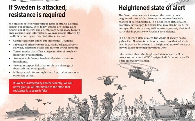 English-language version of Swedish war advice pamphlet