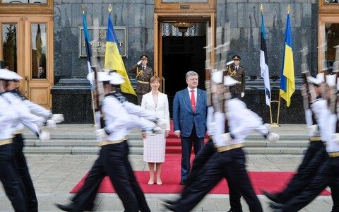 Presidents Kersti Kaljulaid and Petro Poroshenko in Kiev on Tuesday. May 22, 2018.