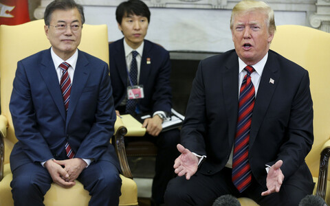 Lõuna-Korea president Moon Jae-in Washingtonis koos Donald Trumpiga 22. mail.