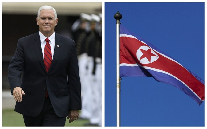 USA asepresident Mike Pence ja Põhja-korea lipp.