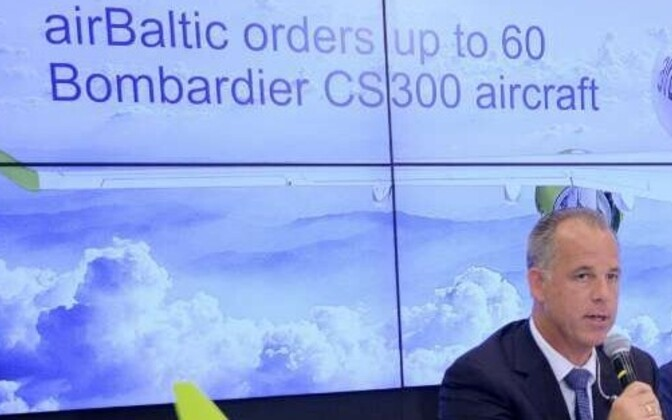 AirBaltic CEO Martin Gauss speaking at a press conference on Monday. 28 May, 2018.