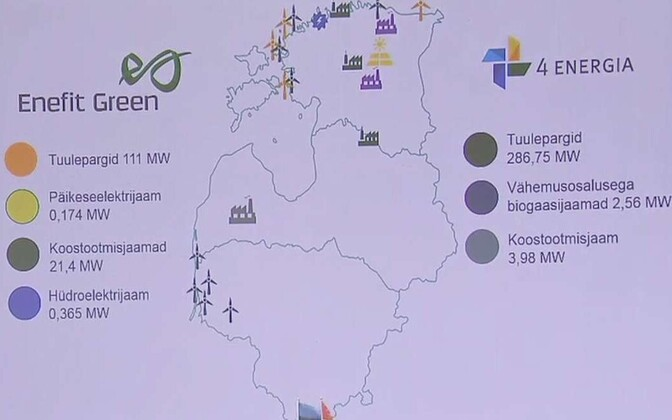 Map of Enefit Green and Nelja Energia green energy production facilities.