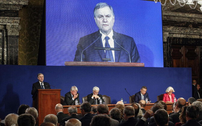 Itaalia Panga juht Ignazio Visco keskpanga pressikonverentsil 29. mail.