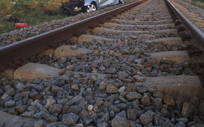 A vehicle involved in a crash with a train. Photo is illustrative.