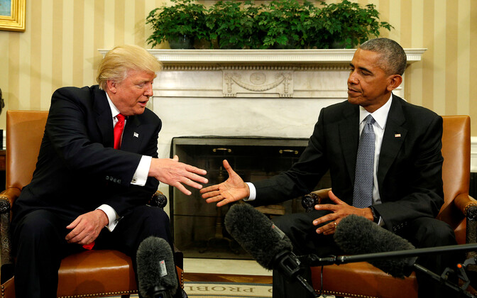 Presidents Donald Trump and Barack Obama at the White House.