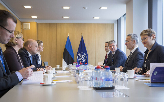 Minister of Defence Jüri Luik met with NATO Secretary General Jens Stoltenberg in Brussels on Monday. 4 June, 2018.