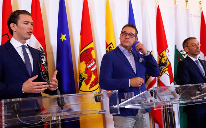 Austria liidukantsler Sebastian Kurz, asekantsler Heinz-Christian Strache ja siseminister Herbert Kickl.