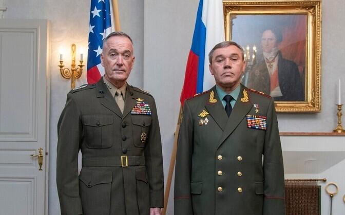 USA staabiülemate ühendkomitee esimees kindral Joseph Dunford ja Venemaa kindralstaabi ülem Valeri Gerassimov Soomes.