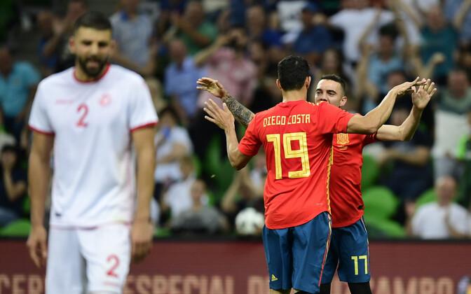 Iago Aspas ja Diego Costa väravat tähistamas.