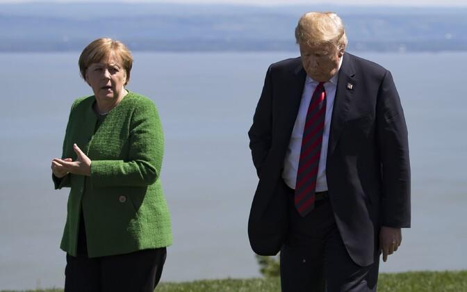 Angela Merkel ja Donald Trump G7 tippkohtumisel Kanadas.