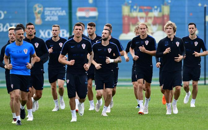 Horvaatia jalgpallikoondislased treeningul.