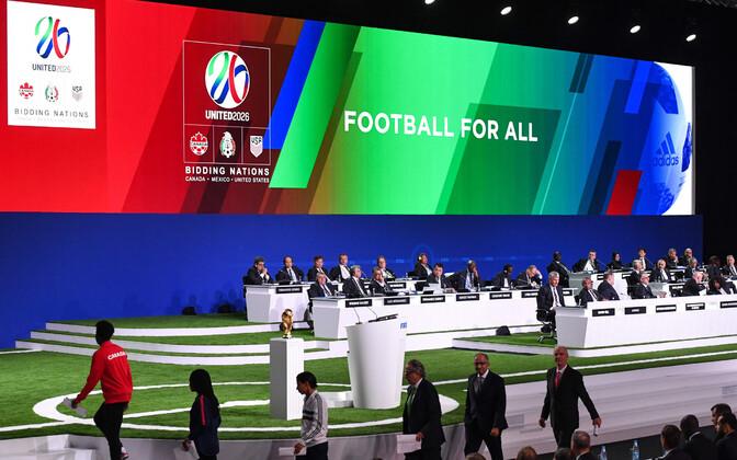 Kanada, USA ja Mehhiko ühiskandidatuuri esitlus FIFA kongressil.