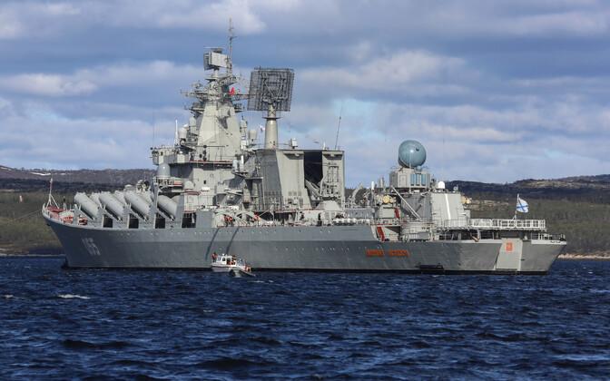 Vene sõjalaev Marssal Ustinov Barentsi merel.