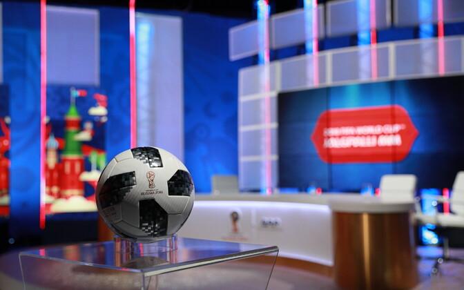 2018. aasta MM-i ametlik mängupall ERR-i jalgpallistuudios.