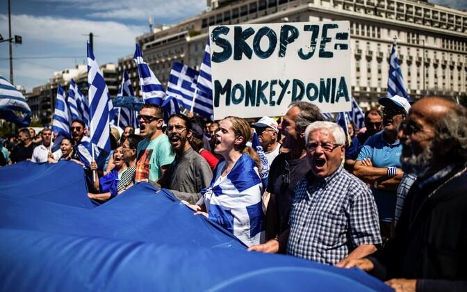 Protest Põhja-Makedoonia nime vastu Ateenas.