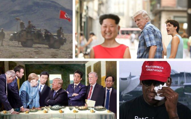 Natsilipp Austraalia armee sõidukil (ABC), meem G7 ja Singapuri kohtumise teemal, meem G7 kuulsa foto teemal, Dennis Rodman CNN-is.