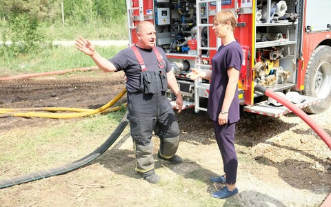Президента Эстонии на пожаре в Википалу.