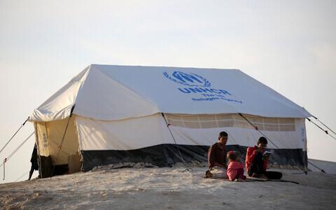 A UNHCR tent in a camp near the Iraqi city of Mosul.
