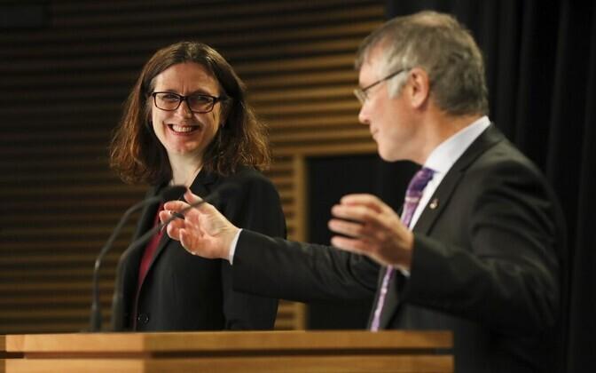 Euroopa Komisjoni kaubandusvolinik Cecilia Malmström ja Uus-Meremaa kaubandusminister David Parker Wellingtonis.