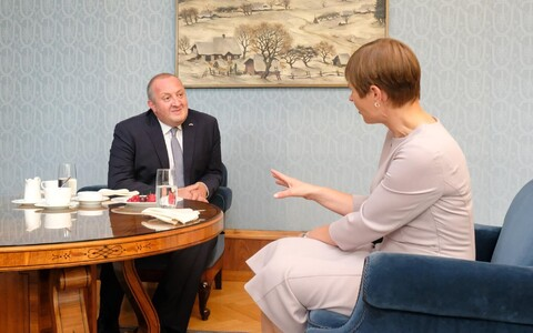 Georgian President Giorgi Margvelashvili and President Kersti Kaljulaid in Kadriorg on Thursday. 21 June, 2018.