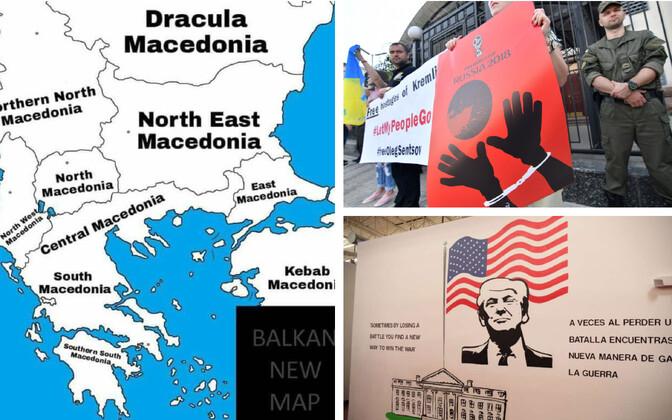 Veebihuumor Makedoonia uue nime teemal (twitter.com/GeorgiGotev); meeleavaldus Oleg Sentsovi toetuseks Kiievis Vene saatkonna ees (AFP); Trumpi pilt migrandilaste majutuskeskuses (USA valitsus).