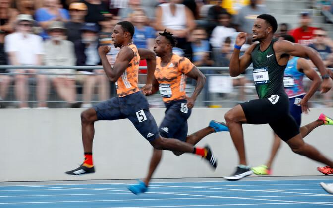 Noah Lyles (kõige ees) USA 100 meetri jooksu meistrivõistlustel