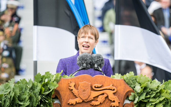 Kersti Kaljulaid speaking at the Victory Day parade in Tallinn on Saturday