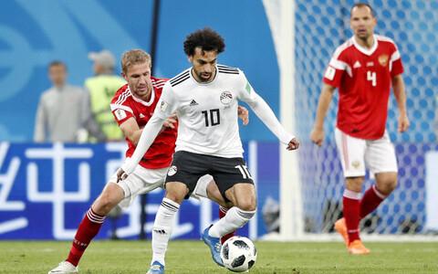 Mohamed Salah Venemaa vastu mängimas.