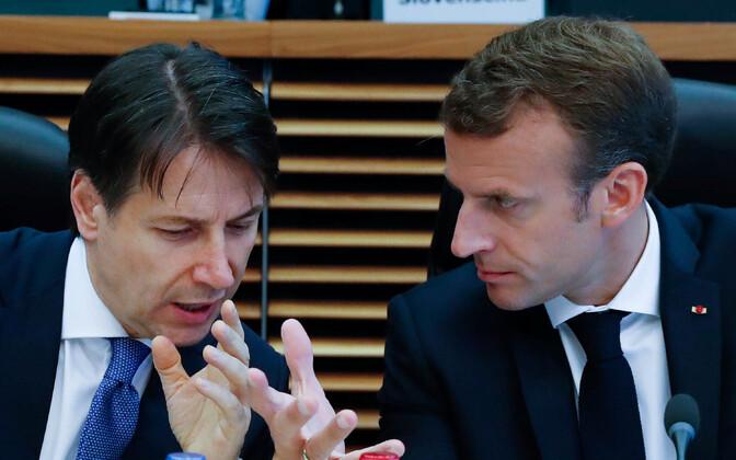Giuseppe Conte ja Emmanuel Macron pühapäeval EL-i liidrite mitteametlikul kohtumisel.
