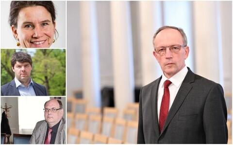 Toomas Asseri rektoraat. Vasakult alla: Aune Valk, Kristjan Vassil, Erik Puura, Toomas Asser.