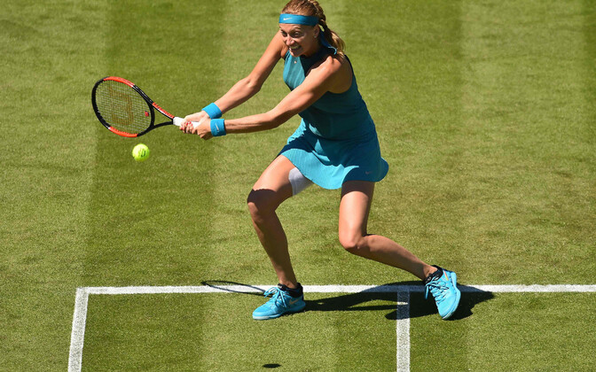 Esimeses matšis Eastbourne'is oli Petra Kvitova parem jalg teibitud.