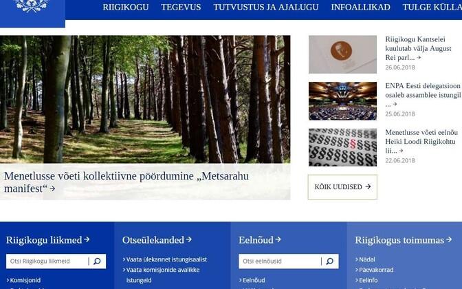 Riigikogu veebilehe avaleht.