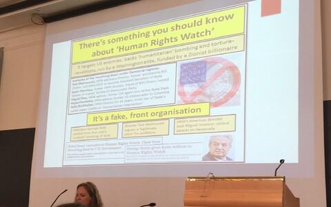 Vanessa Beeley esitluse slaid, kus ta väidab, et Human Rights Watch on valeorganisatsioon, mida rahastab Soros