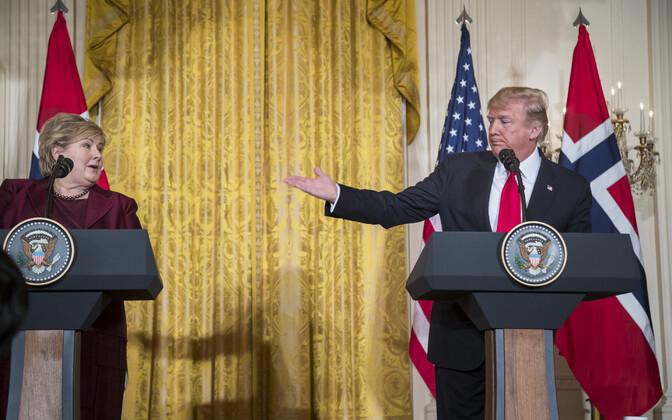 Erna Solberg ja Donald Trump käesoleva aasta jaanuaris Washingtonis.