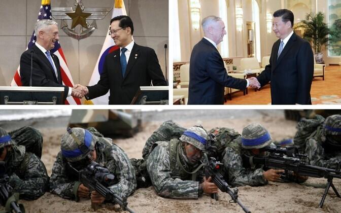 USA kaitseminister Mattis ja Lõuna-Korea kolleeg Song Young-moo (AFP), USA kaitseminister Mattis ja Hiina president Xi Jinping (SIPA) ja USA ja Lõuna-Korea ühisõppus 2017. aastal (Reuters).