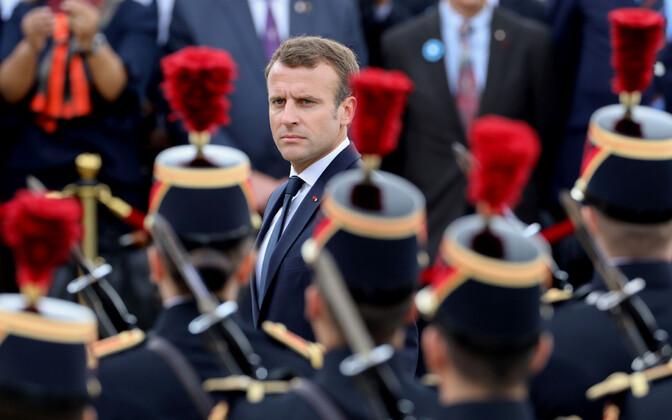 Prantsusmaa president Emmanuel Macron paraadil.
